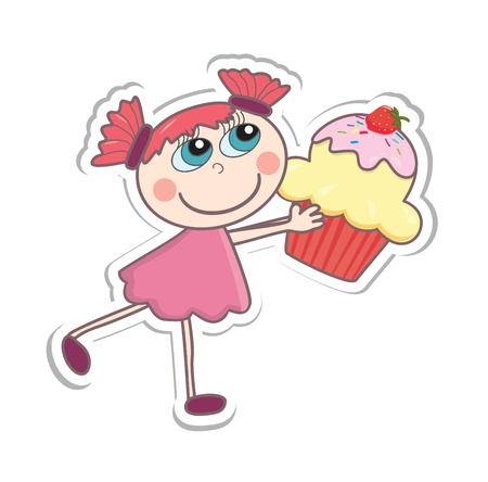 Cartoon girl with a cupcake. Vector illustration Illustration