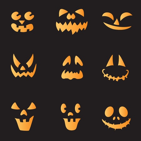 fearless: Scary faces of Halloween pumpkin. Vector