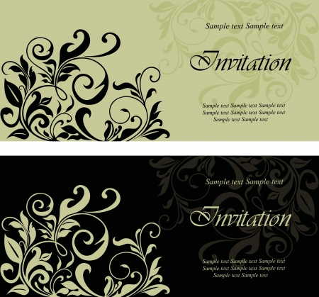 Set of floral invitation cards. Stock Vector - 16125723