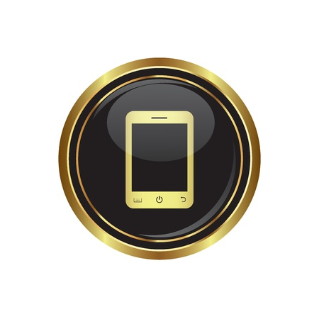 phone button: Round golden button with mobile phone (smart phone) icon. Vector illustration. Illustration