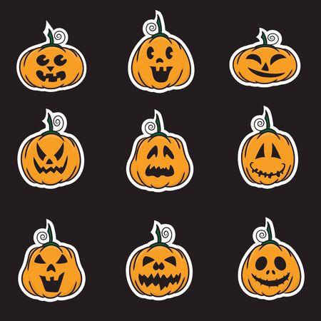 grimace: Halloween pumpkin stickers - vector illustration