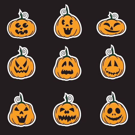 wicked set: Halloween pumpkin stickers - vector illustration