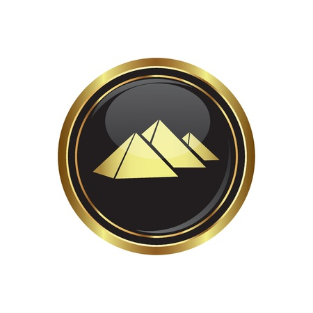 giza: Round golden button with pyramids icon. Vector illustration Illustration