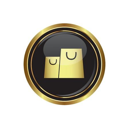 shopping bag icon: Round goldenen Knopf mit Einkaufstasche Symbol. Vector illustration Illustration
