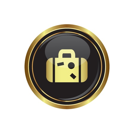 excursions: Round golden button with suitcase icon. Vector illustration Illustration