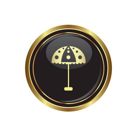 Round golden button with beach umbrella icon. Vector illustration Stock Vector - 16125720