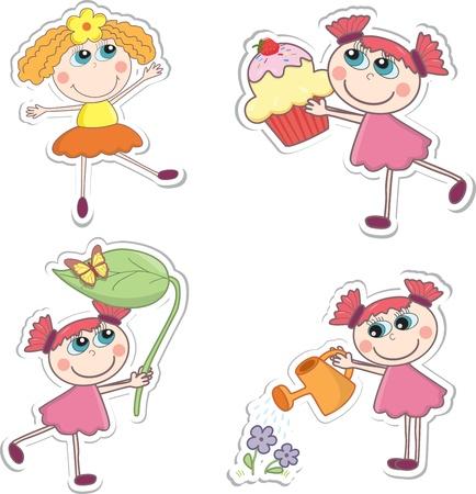 exited: Cartoon girls. Vector illustration