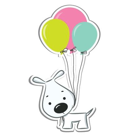 dog days: Perro lindo de la historieta con los globos. Sticker. Ilustraci�n vectorial