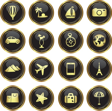 beach umbrella: Round golden buttons with travel icons. Vector illustration.