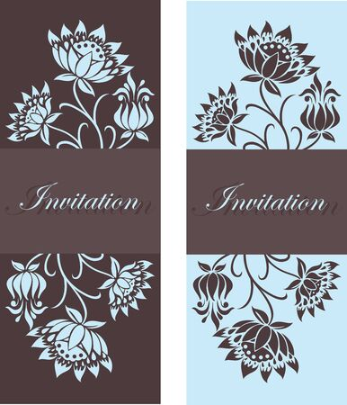 Beautiful floral invitation cards Stock Vector - 16125544