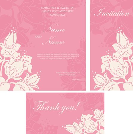 Wedding invitation cards with floral elements. Vector