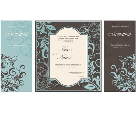 invitacion fiesta: Tarjetas de invitaci�n de la boda con los elementos florales.