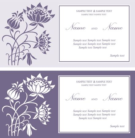 Set of wedding floral invitation cards. Stock Vector - 16125724