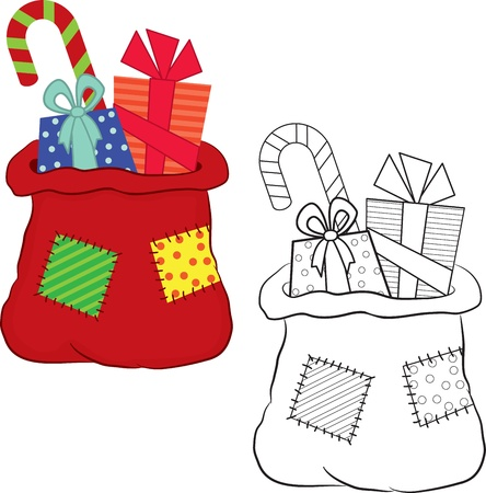 Bag with gifts. Coloring book. Vector