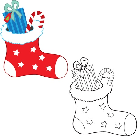 Christmas gifts. Coloring book. Vector illustration Vector