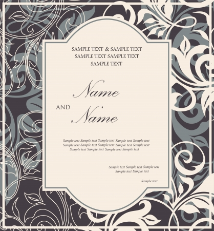 date of birth: Damask invitation floral card.