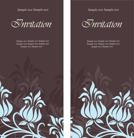 Set of floral invitation cards. Vector