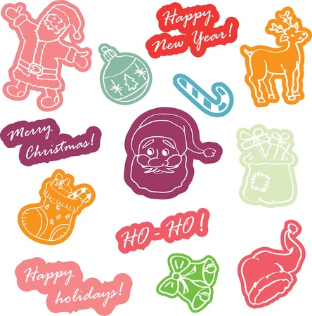 stoking: Christmas stickers for decoration Vector illustration Illustration
