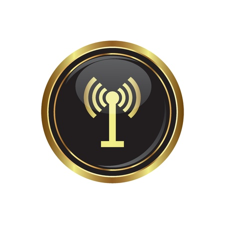 oftware: Wireless icon on the black with gold round button  Vector illustration