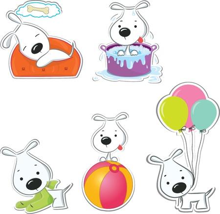 perro caricatura: Divertido perros pegatinas ilustración vectorial