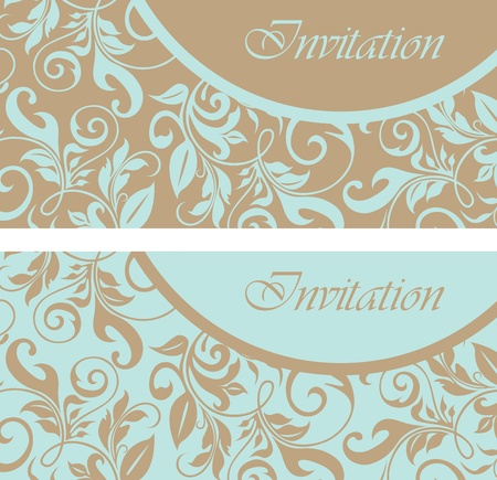 birth announcement: Set of floral invitation cards  Illustration