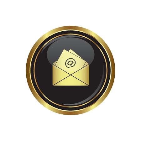 e  mail: E mail icon on the black with gold round button  Vector illustration