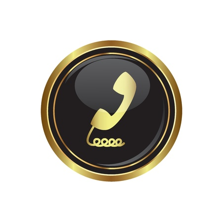 Telephone receiver icon on the black with gold round button  Vector illustration Vector
