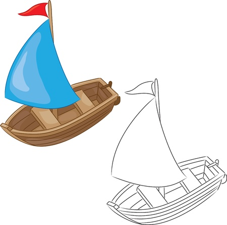 toy boat: Sailboat  Coloring book  Vector illustration