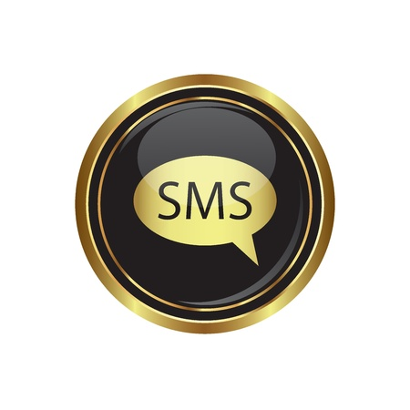 oft: sms icon on the black with gold round button  Vector illustration
