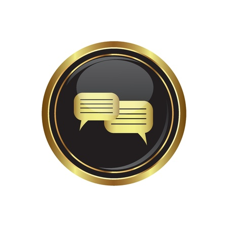 oft: Speech bubbles icon on the black with gold round button  Vector illustration