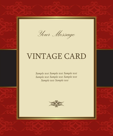 Luxury red vintage card Vector