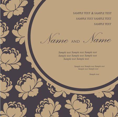 Damask invitation floral card Stock Vector - 16710012