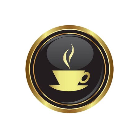 internet cafe: Cup icon on the black with gold round button  Vector illustration
