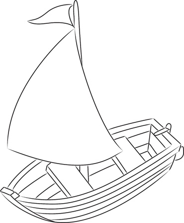 toy boat: Sailboat  Outlined  Vector illustration