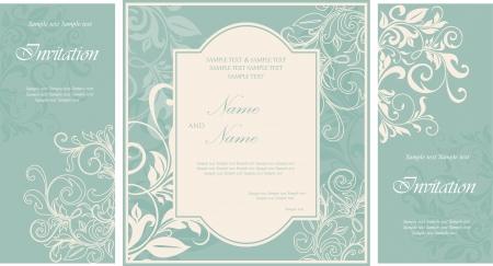 꽃 요소와 결혼식 안내장 카드 일러스트