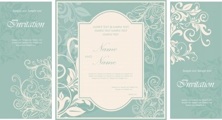 Wedding invitation cards with floral elements  Illusztráció