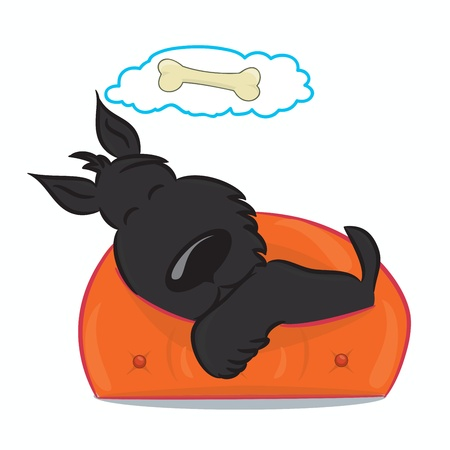 Sleeping funny puppy  Isolated on white  Vector illustratio Vector