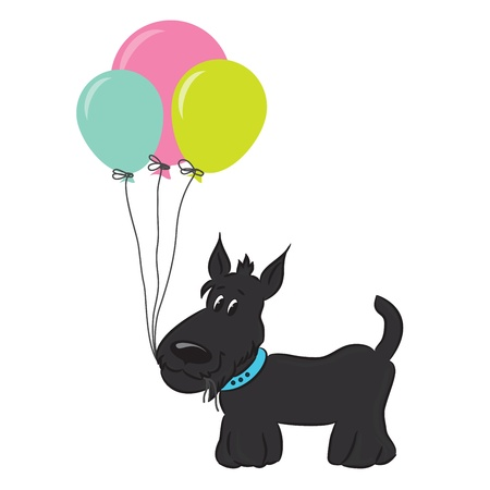 Cute cartoon dog with balloons  Vector illustration Stock Vector - 16709979