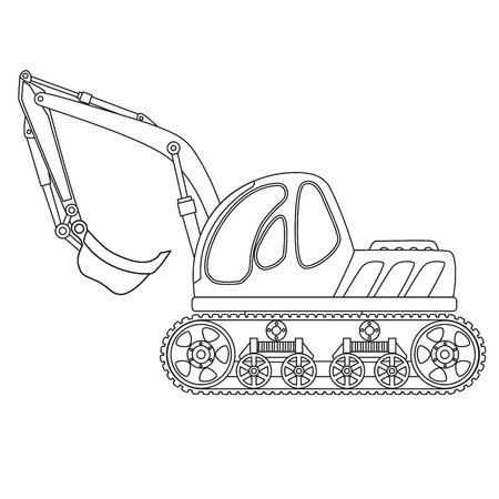navvy: Dredge toy outlined  Vector illustration