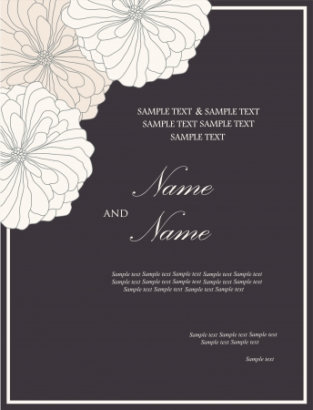 date of birth: Floral wedding invitation card