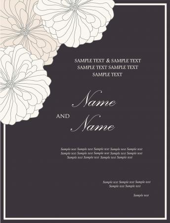 date of birth: Floral wedding invitation card