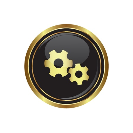 sprocket: Gears icon on the black with gold round button  Vector illustration Illustration