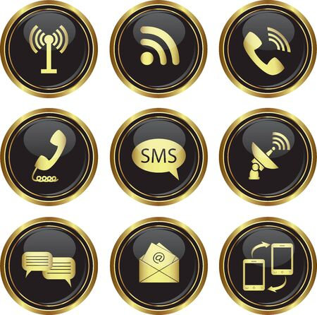wireless signal: Round golden buttons with communication icons  Vector illustration