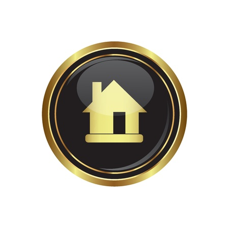 close icon: House Icon on the black with gold round button  Vector illustration Illustration