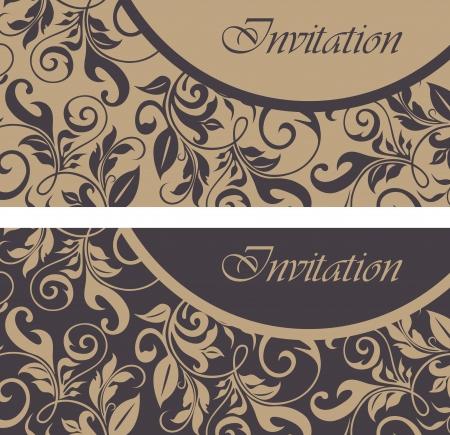 Set of floral invitation cards  Ilustrace