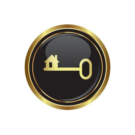 Кнопки: Значок ключа на черном с золотом круглой кнопки Векторные иллюстрации Иллюстрация