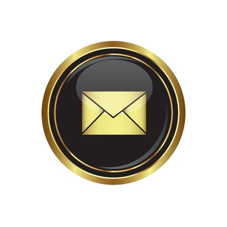 mms: Mail icon on the black with gold round button  Vector illustration Illustration