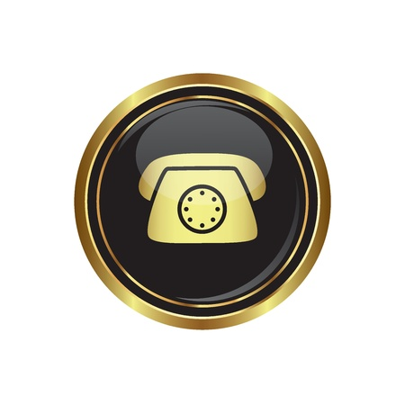 Telephone icon on the black with gold round button  Vector illustration Stock Vector - 16710019
