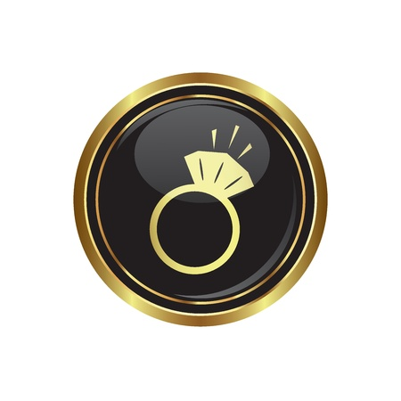 Ring icon on the black with gold round button  Vector illustration Vector
