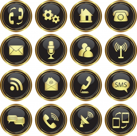 telecommunication tower: Round golden buttons with communication icons  Vector illustration
